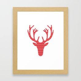 Red deer head Framed Art Print