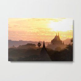 Sunset Pagoda   Temples of Bagan   Myanmar Travel Photography Metal Print