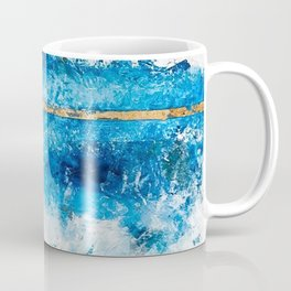 Blue Skies: a pretty, minimal abstract mixed-media piece in blue, white and gold Coffee Mug