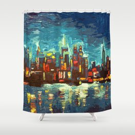 Abstract NYC Skyline Shower Curtain