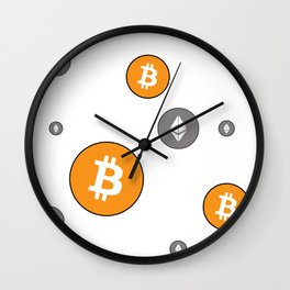 Ethereum and Bitcoin Pattern Wall Clock