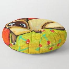 Siamese cat nervous siamese kitty on a cherry pillow art by Tascha Floor Pillow