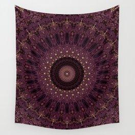 Mandala in dark purple and golden colors Wall Tapestry