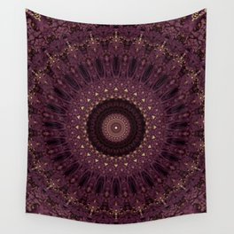 Mandala in dark purple and golden colors Wall Tapestry