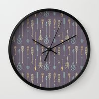 arrows Wall Clocks featuring Arrows by Ceren Aksu Dikenci