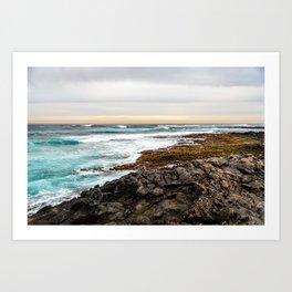Volcanic Seascape in Fuerteventura at sunset Art Print