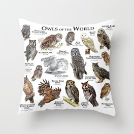 Owls of the World Throw Pillow