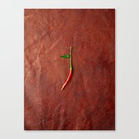 chile Canvas Prints featuring leather chile by Sanchphoto
