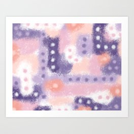 Purple, Pink and Peach Abstract Pastel Painting Art Print