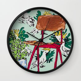 School Chair and Mint Cockatoo Wallpaper Wall Clock