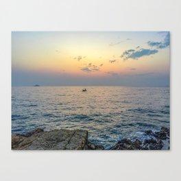 Seacoast of the peninsula of Rovinji at sunset Canvas Print