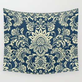 damask in white and blue vintage Wall Tapestry