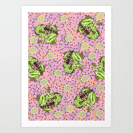 pentragram and frog Art Print