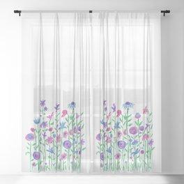 Cheerful spring flowers watercolor Sheer Curtain