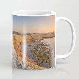 II - Typical Dutch landscape with a dike, in winter at sunrise Coffee Mug