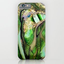 Kelly Green Aquamarine and Gold Acrylic Painting iPhone Case