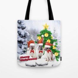 Schneehasen wünschen: frohe Weihnachten Tote Bag