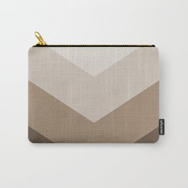 Brown Taupe Chevron Stripes Carry-All Pouch