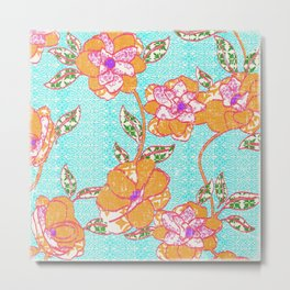 Crayon Bright Orange Flowers on Turquoise Metal Print