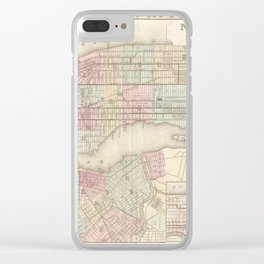 new york city old map Clear iPhone Case
