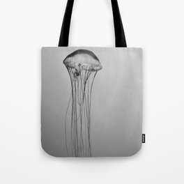 Black and White Jellyfish Art Photography, Drifting Through Time and Space Tote Bag