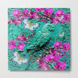 PURPLE ORCHIDS BUTTERFLIES TURQUOISE TROPICAL MACAW PARROT Metal Print