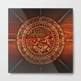 Aztec Logo On Wood Metal Print