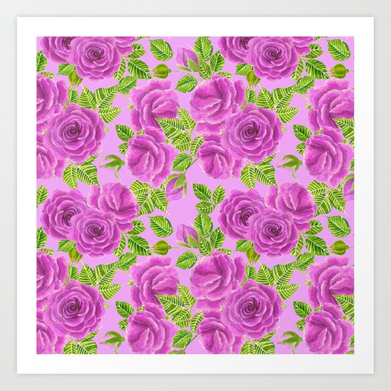 Violet roses watercolor pattern design Art Print