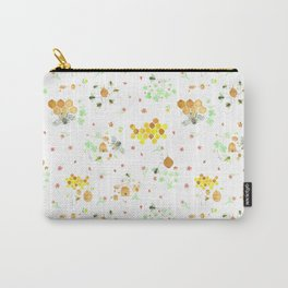 Whimsical Honeybees on White | Hives Honeycomb Clover Flowers Carry-All Pouch