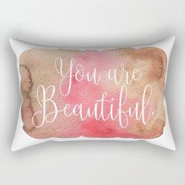 You are Beautiful - brown and pink Rectangular Pillow