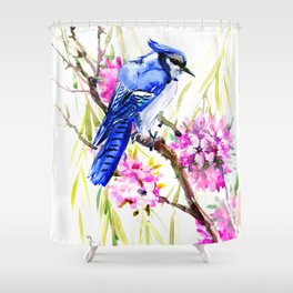 Blue Jay and Cherry Blossom, Blue Pink Birds and Flowers Shower Curtain