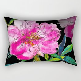 Black Peony Rectangular Pillow
