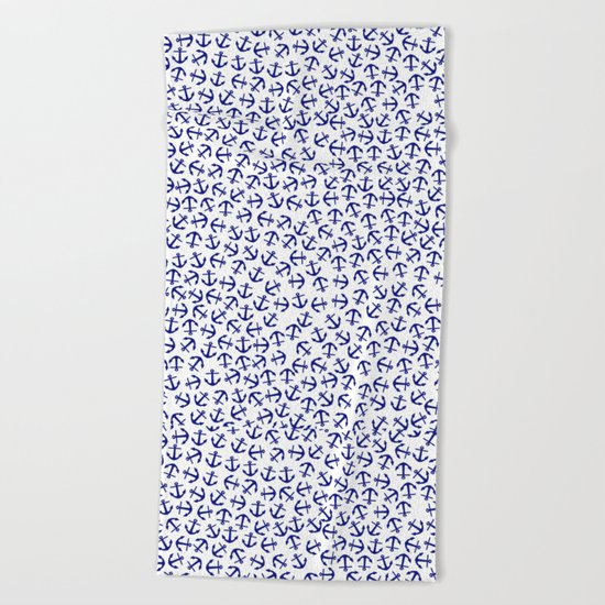 Maritime Anchors pattern- blue anchor on white background #Society6 Beach Towel