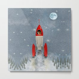 mr fox goes to the moon Metal Print