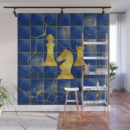Lapis Lazuli Chessboard and Gold Chess Pieces Wall Mural