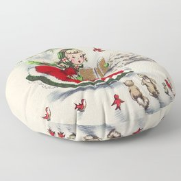 Vintage Christmas Girl Floor Pillow