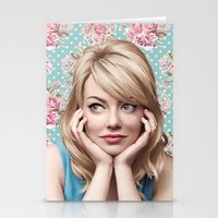 emma stone Stationery Cards featuring EMMA STONE by FISHNONES
