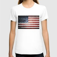 american flag T-shirts featuring American flag by Nicklas Gustafsson
