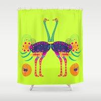 ostrich Shower Curtains featuring Decorated ostrich by Design4u Studio