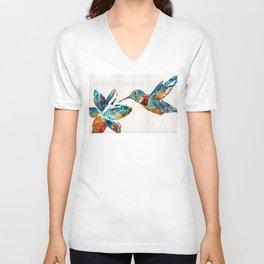 Colorful Hummingbird Art by Sharon Cummings Unisex V-Neck