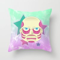 attack on titan Throw Pillows featuring Pastel no Kyoujin Colossal Titan by KawaiiMachine