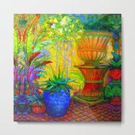 Colorful Tropical GardenLandscape  Painting  Metal Print