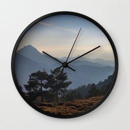 Blue dreams III. Misty mountains Wall Clock