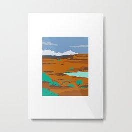 Columbian Basin Desert Scene Retro Metal Print