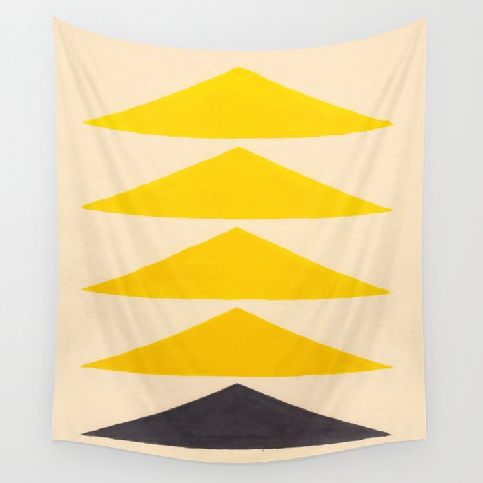 Colorful Ombre Yellow Geometric Triangle Pattern Wall Tapestry