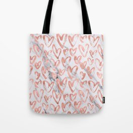 Hearts Rose Gold Marble Tote Bag