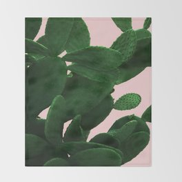 Cactus On Pink Throw Blanket