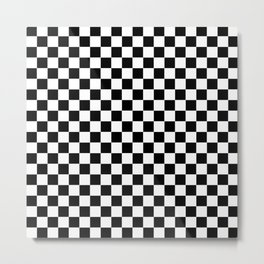 Black Checkerboard Pattern Metal Print