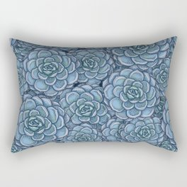 Blue Succulent Pattern Rectangular Pillow