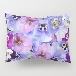 PURPLE-WHITE-PINK PANSY FLOWERS & BLACK Art Pillow Sham